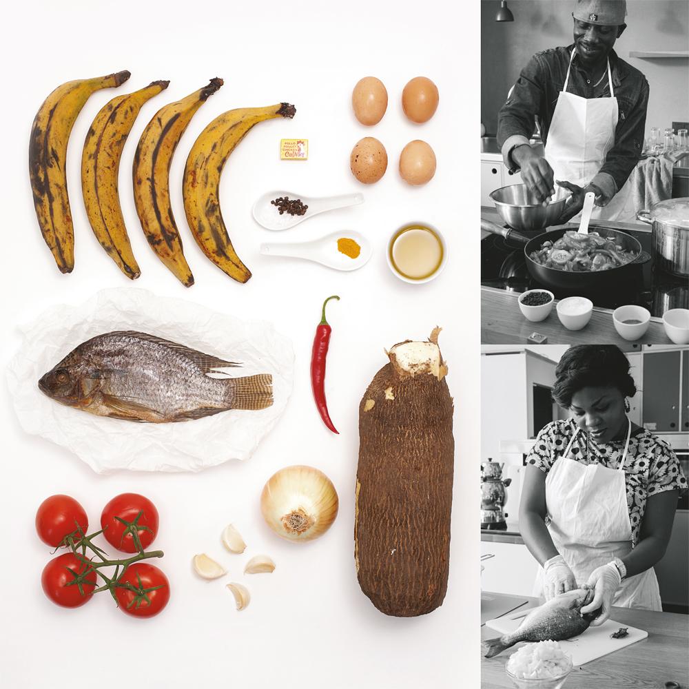 """Eine """"Zutatenliste"""" des Foto-Kochbuchs Look+Cook und die jungen Flüchtlinge beim Kochen, Fotos: Lisa Lowitsch-Gramse, Nina Janssen und Christian Schildmacher"""