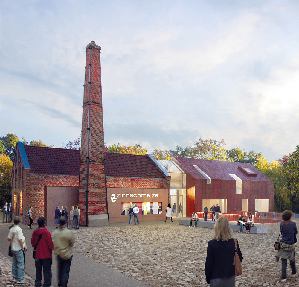 Der Altbau (links) mit neuem Anbau (rechts), Grafik: LRW Architekten