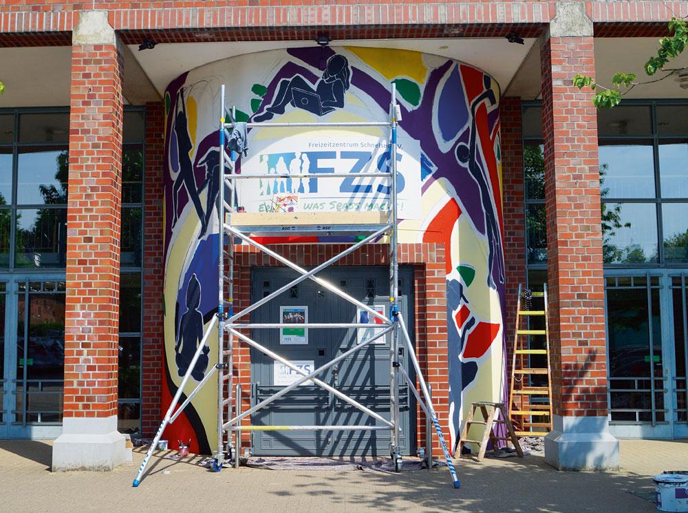 Das Mural kurz vor der Fertigstellung, Foto: Martina Polle