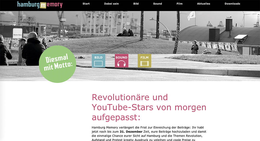 "Motto 2018 ""Revolution, Aufstand, Protest – Demokratie in Hamburg 1918 bis 2018"", Screenshot: hamburg-memory.de"