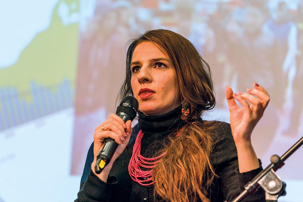 """Marina Weisband erläutert Liquid Democracy am Beispiel des Projekts """"aula"""", Foto: Miguel Ferraz"""