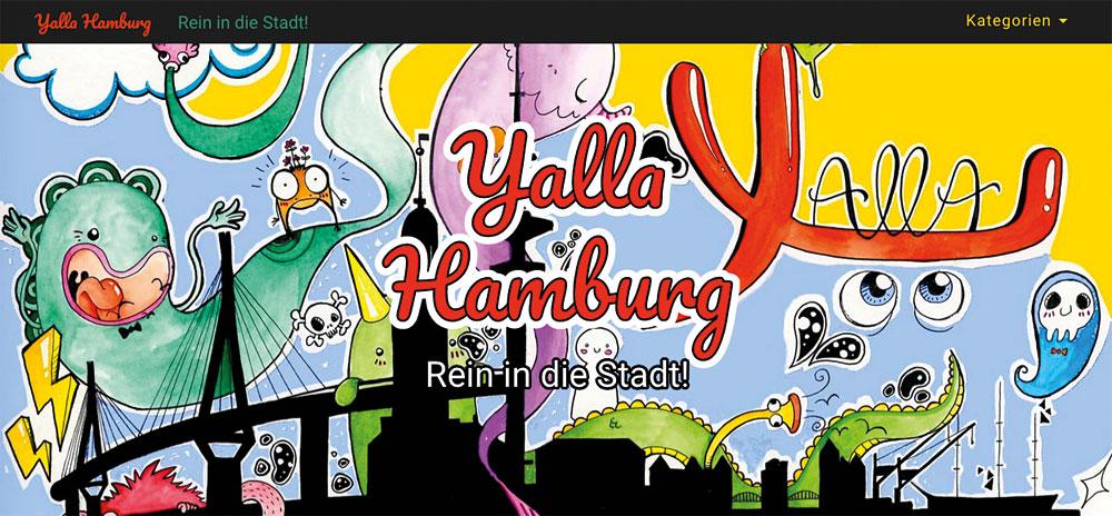 Auf yallahamburg.de finden sich kurze Videos über Angebote für Geflüchtete, Screenshot: yallahamburg.de